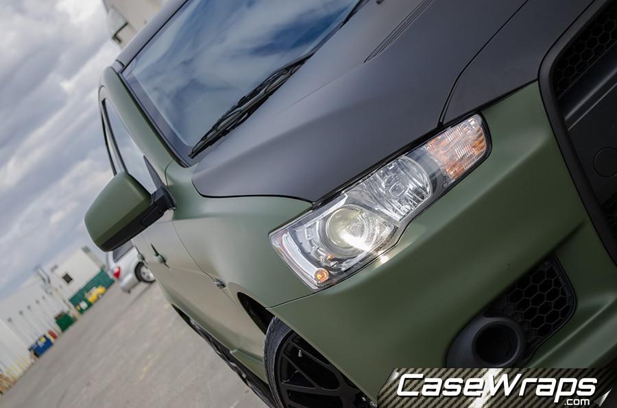 Mistubishi-Lancer-Matte-Green-and-Black-Wrap-Finished-08